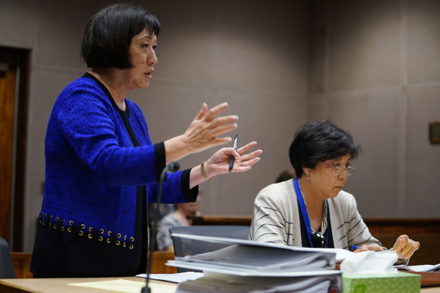 Colleen Hanabusa makes her arguments in the Gut and Replace case in Judge Gary Chang Courtroom.