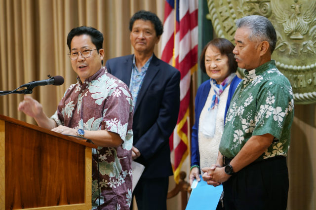 City Clerk Glenn Takahashi speaks during press conference about the special election for district 4 city council with Vice Chair Menor, Acting Chair Kobayashi and Governor Ige.