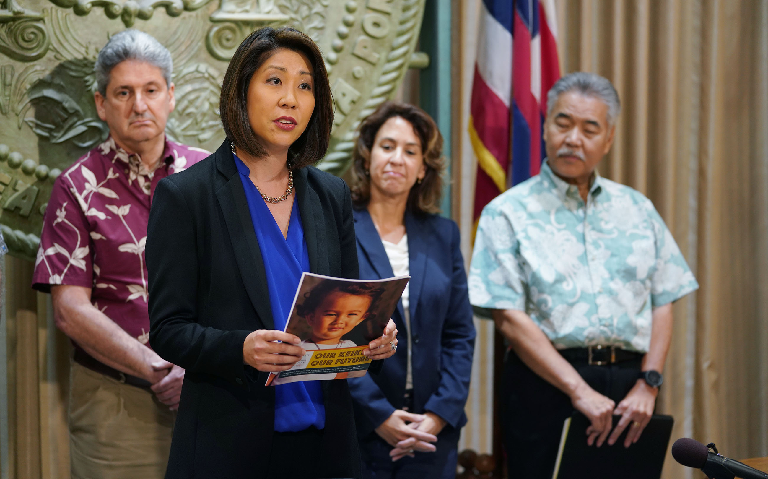 Laurent Moriguchi Director Executive Office on Early Learning with Governor David Ige, DOH Director Bruce Anderson, Dept of Human Services Pankaj Bhanot and UH president David Lassner and DOE Superintendent Kishimoto.