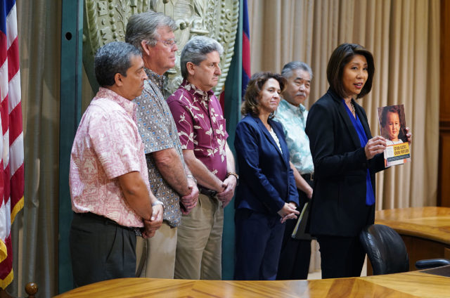 Laurent Moriguchi Director Executive Office on Early Learning with Governor David Ige, DOH Director Bruce Anderson, Dept of Human Services Pankaj Bhanot and UH president David Lassner.