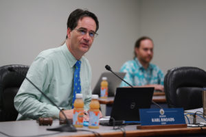 Senator Karl Rhoads during recreational marijuana hearing.