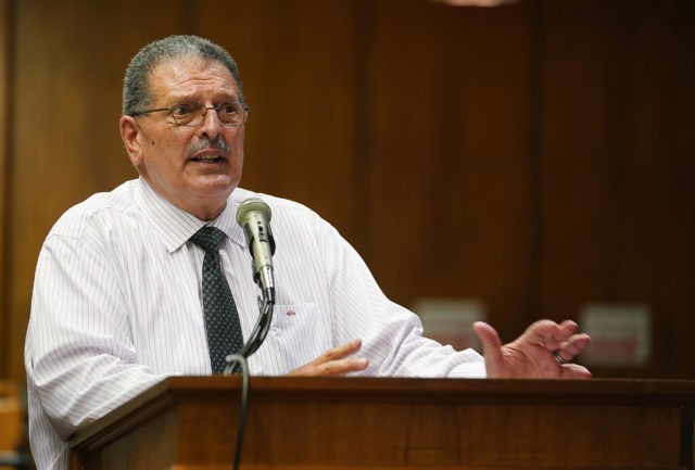 Maui Mayor Mike Victorino speaks to joint WAM Finance committees.