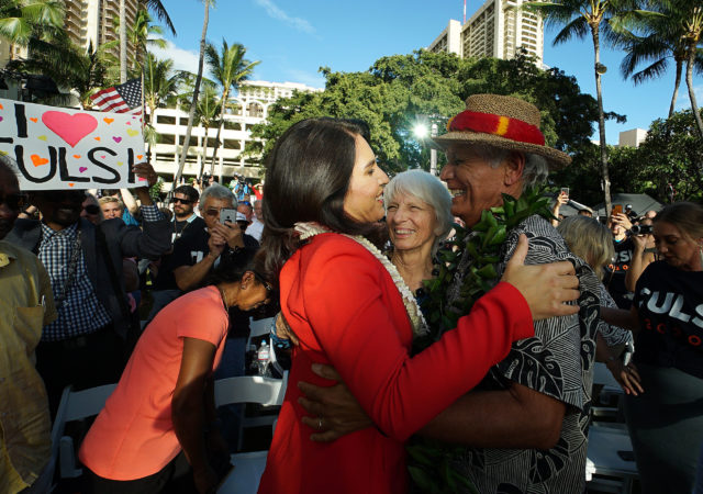 Congresswoman Tulsi Gabbard announces her run for president, embracing her dad Mike Gabbard and mom.
