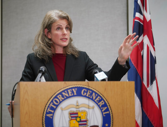 Attorney General Clare Connors announces suspension of Keith Kaneshiro.