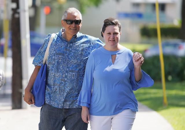 Former deputy city prosecutor Katherine Kealoha with Louis Kealoha arrive at Federal Court house.