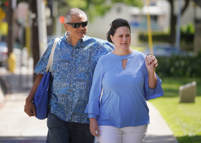 Former deputy city prosecutor Katherine Kealoha with Louis Kealoha arrives at the Federal Court house.