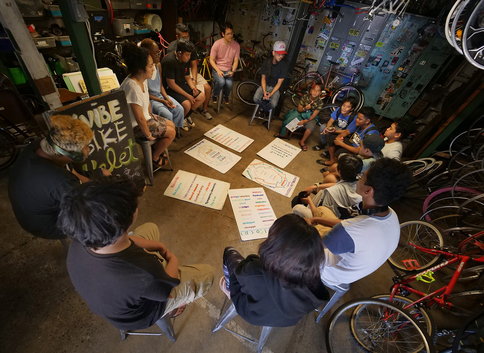 <p>Another program allows people, mostly youths, to learn bicycle maintenance skills and put in sweat equity to get their own bikes. The Kalihi Valley Instructional Bike Exchange begins each day with a circle to help build strong relationships among participants and mentors.</p>