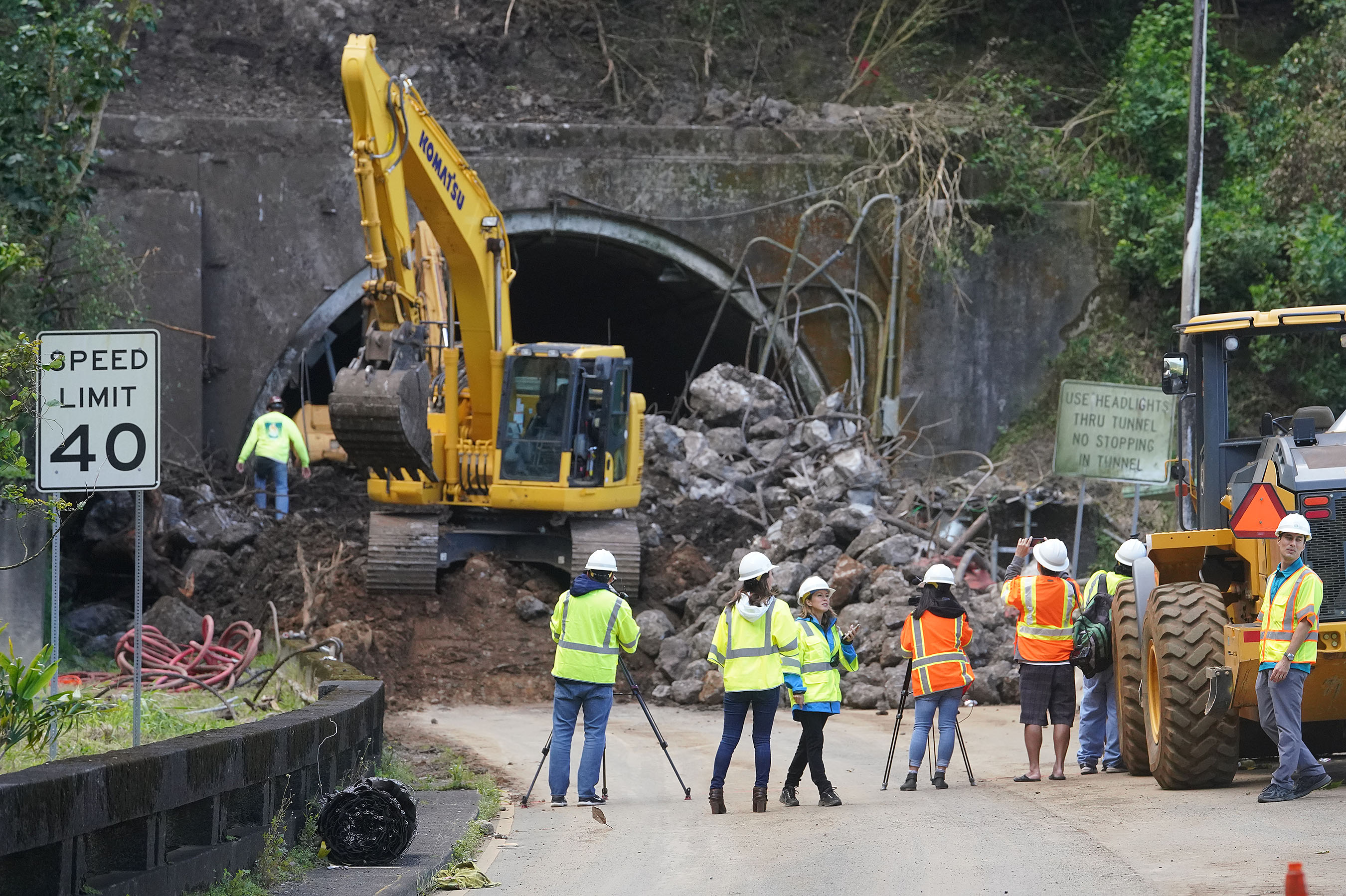 <p>On Friday, a huge rock pile still blocked the entrance to one of the Honolulu-bound Pali tunnels on the highway.</p>