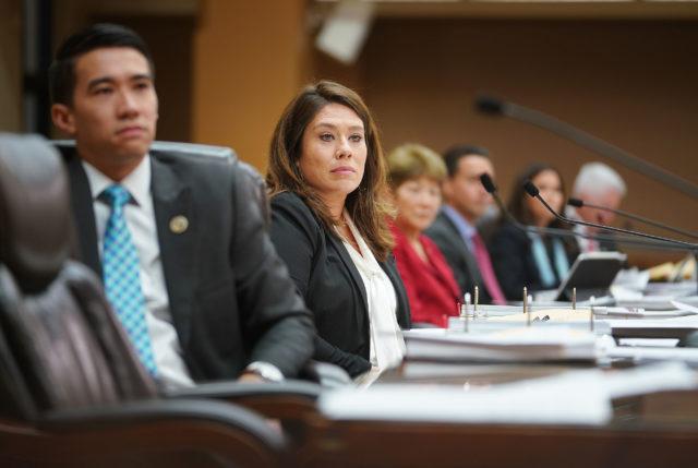 Honolulu City Council Member Heidi Tsuneyoshi listen to public testimony.