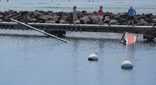Ala Wai Yacht Harbor sunken boats. There is actually two boats, one atop another.