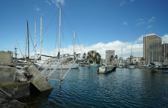 Ala Wai Harbor damaged slip.