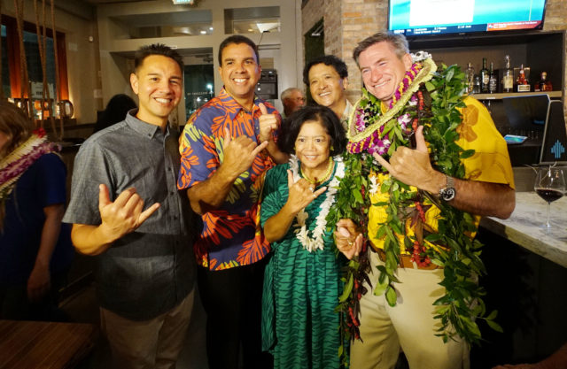 City Council Candidate Tommy Waters with council members Ikaika Anderson, Ron Menor, and Joey Manahan. Brillaint Ox.