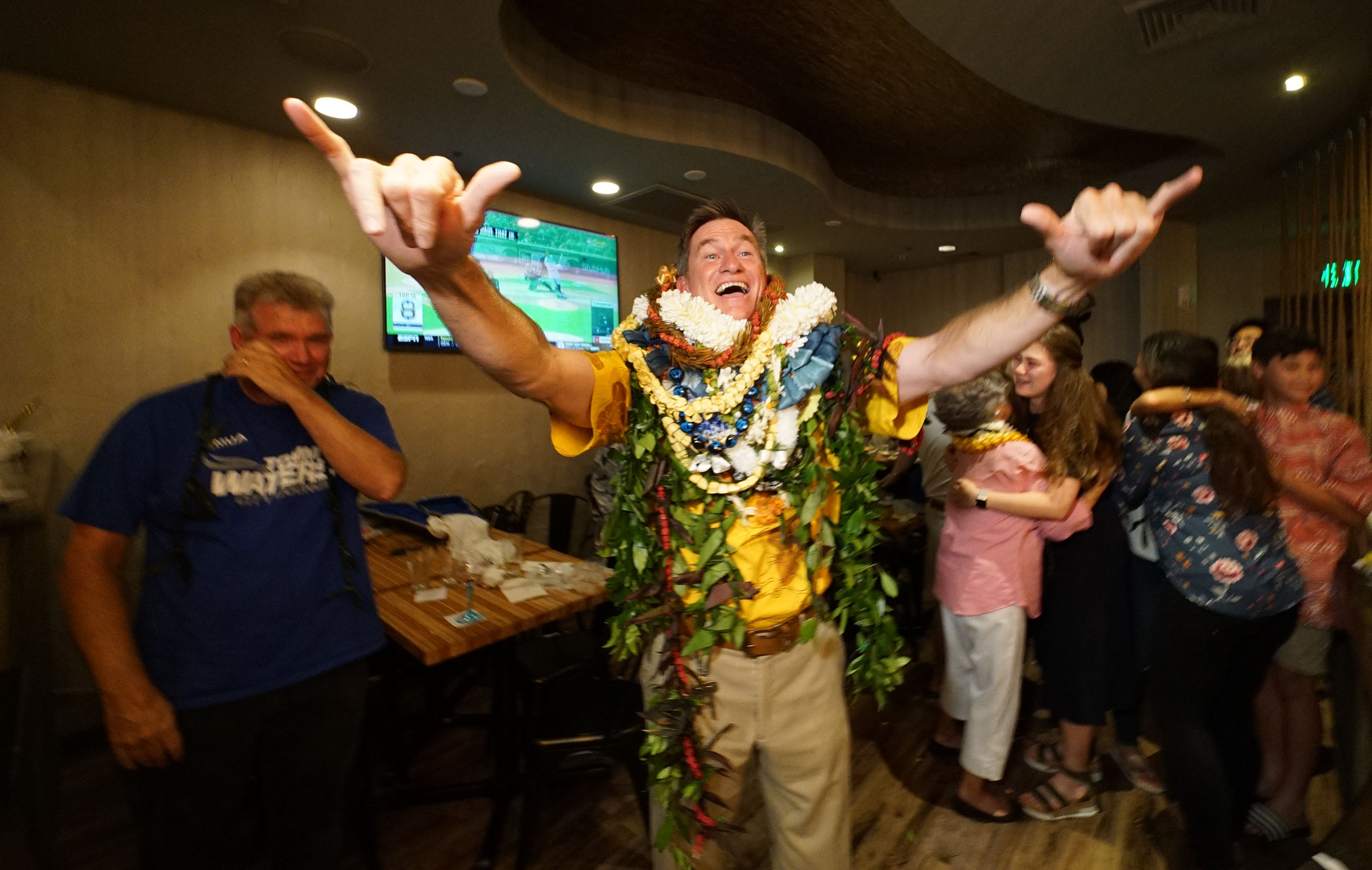<p><strong>Council Rematch:</strong> Tommy Waters flashes shakas after narrowly winning his Honolulu City Council seat in a special election against incumbent Trevor Ozawa.</p>