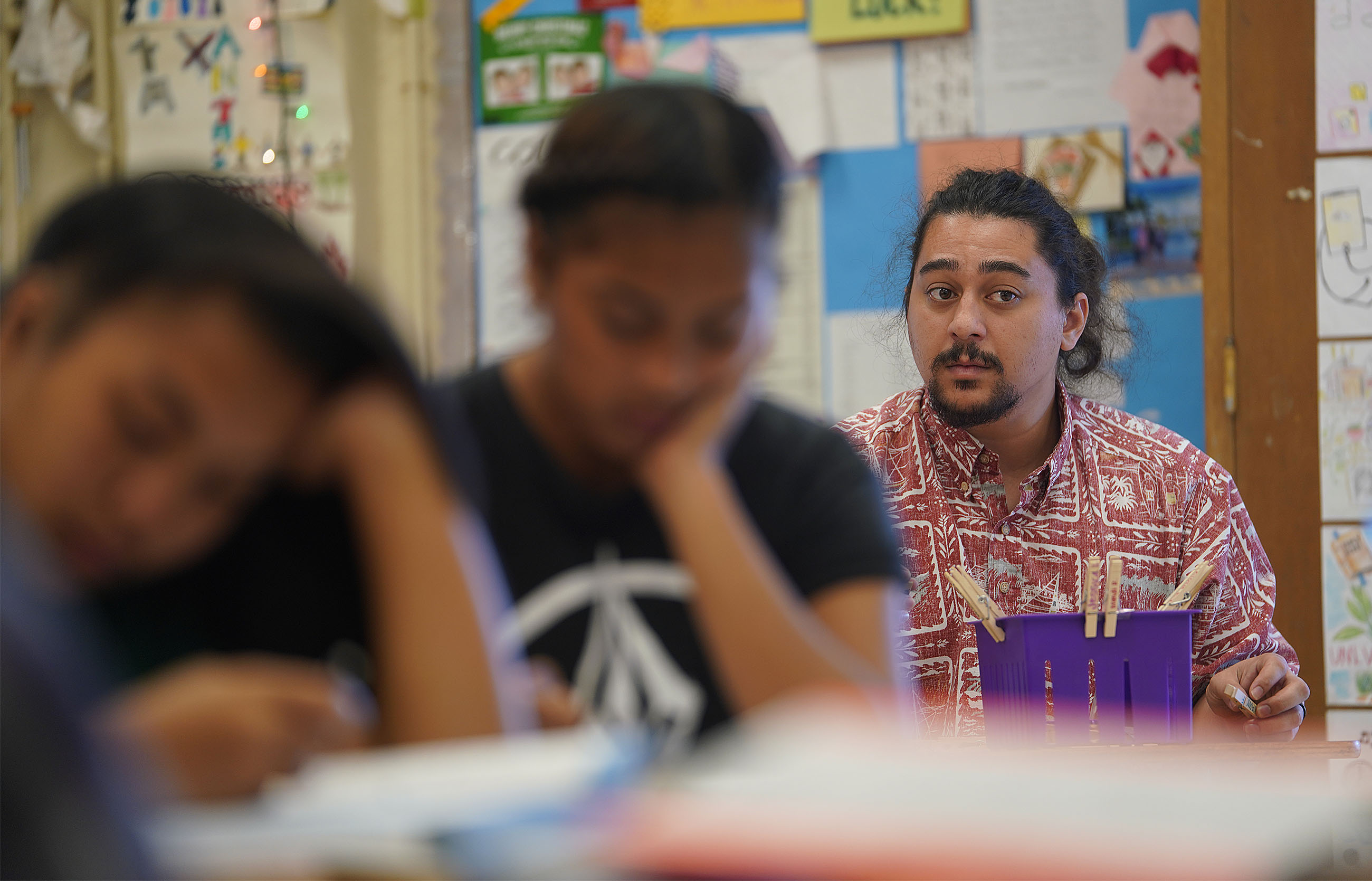 Student Teacher Mark Kauanui teaches at Farrington High School.