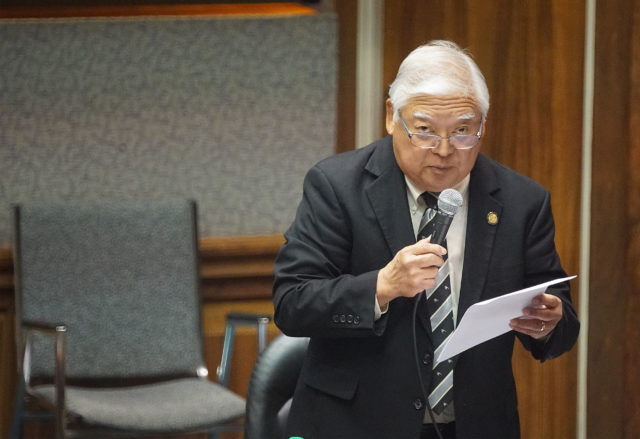 Senator Clarence Nishihara speaks in opposition to Nolan Espinda confirmation.