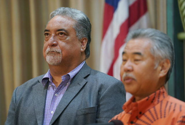 Director Public Safety Nolan Espinda in presser with Governor Ige.