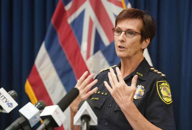 Honolulu Police Dept Chief Susan Ballard gestures during domestic violence press conference held at HPD.