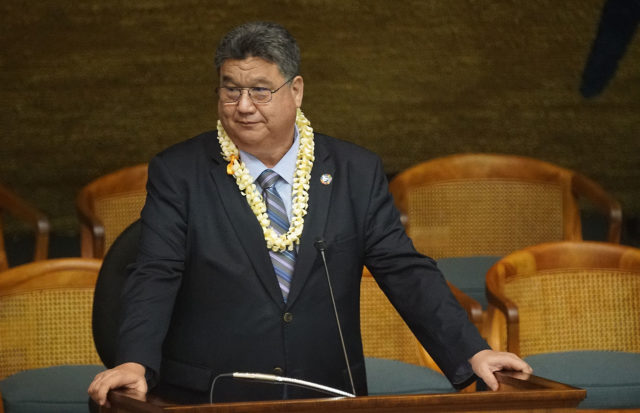 Senate President Ron Kouchi during last day of session.