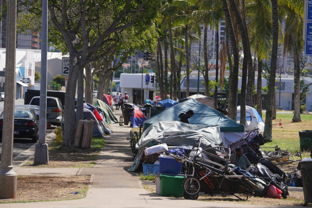 Homeless Encampment at Kakaako Gateway Park with tents.