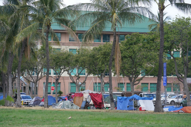 Homeless Encampment at Kakaako Gateway Park with UH Medical School the background.