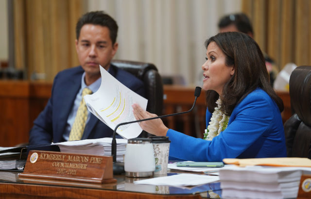 Honolulu City Council Member Kymberly Pine before recess. Bill 89 and 85.