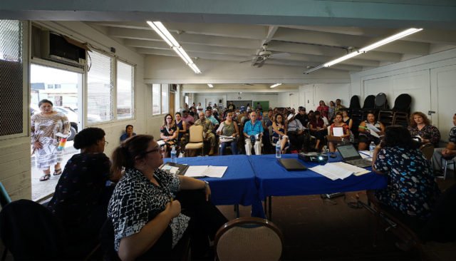 People gather for a workshop on obtaining drivers licenses for COFA migrants at We Are Oceania.