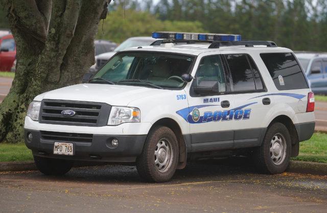 Maui Police vehicle at Molokai High School.