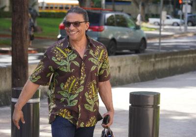 Ken Lawson arrives at District Court.