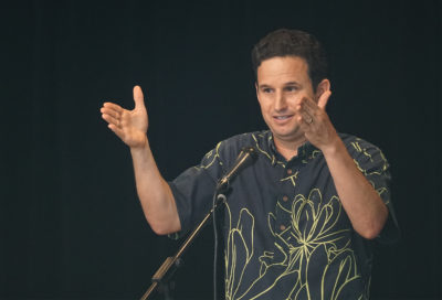 Senator Brian Schatz takes questions during his town hall meeting held at Washington Middle School.