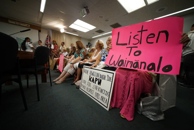 Waimanalo Supporters gather for Honolulu City Council park committee meeting at Honolulu Hale.