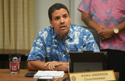 Hono City Council Member Ikaika Anderson speaks at parks committee meeting on the Waimanalo/Sherwood Forest.