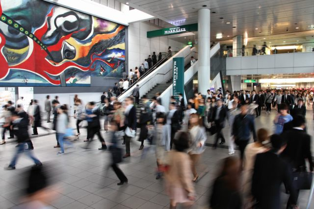 Tokyo: Crowds hurry at Tokyo Shibuya station in Japan. With 2.4 million passengers on a weekday, it is the 4th-busiest commuter rail station in Japan.