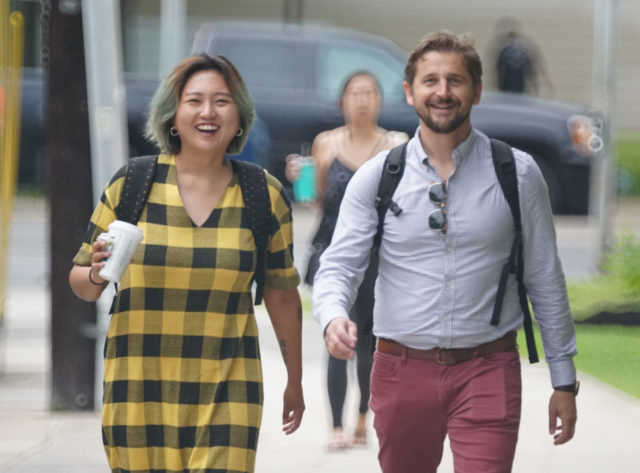 Yoohyun Jung and Nick Grube arrive early at District Court.