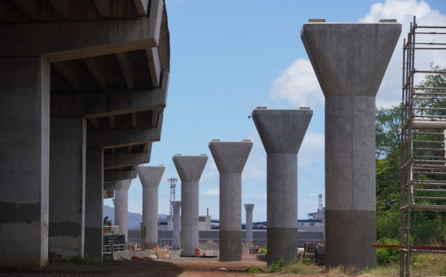 HART Rail Guideway columns near Eliot Street and Daniel Inouye International Airport.