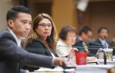Honolulu City Council member Heidi Tsuneyoshi during public testimony on Bill 85 and 89 at Honolulu Hale.