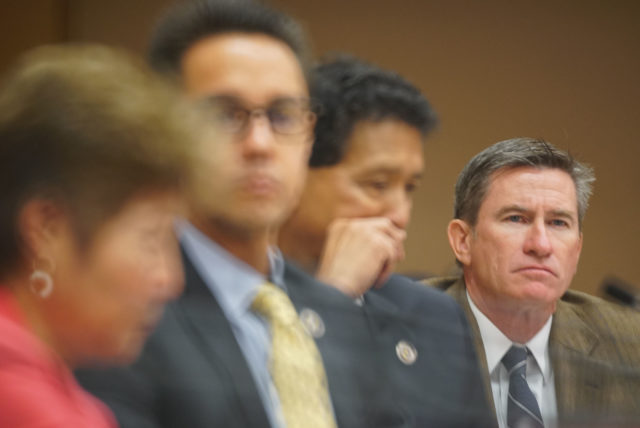 Honolulu City Council member Tommy Waters listens to public testimony on Bill 85 and 89 at Honolulu Hale.