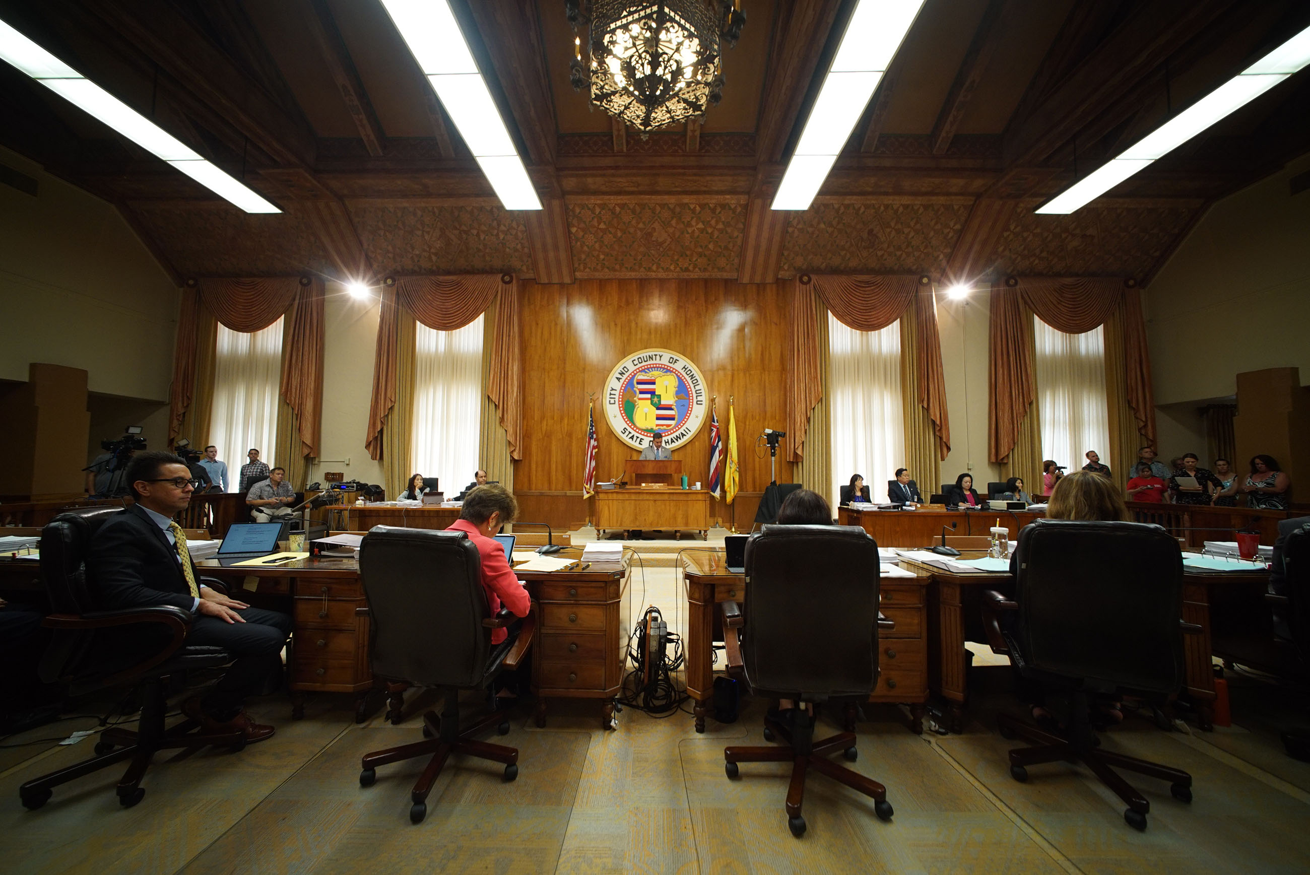 Honolulu City Council members listen to public testimony on Bill 85 89.