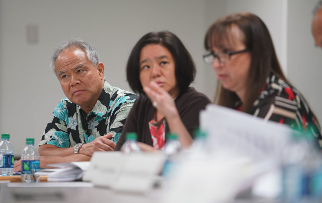 Law Enforcement Officer Independent Review Board members Gary Yabuta, Katy Chen and right, Melissa Pavlicek.