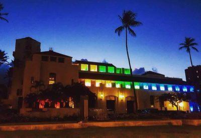 Honolulu Hale Lit Up In Rainbow Colors