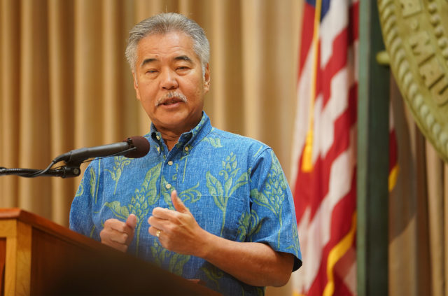 Governor David Ige during veto presser.