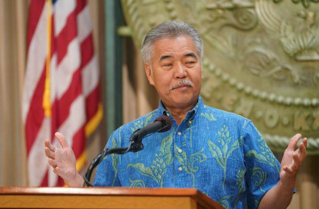 Governor David Ige during veto presser.