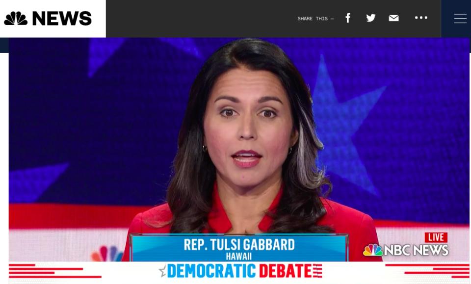 Gabbard Sticks To Her Talking Points In First Presidential Debate