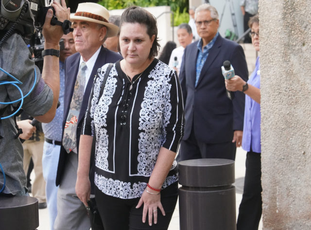 Katherine Kealoha leaves District Court after guilty verdict.