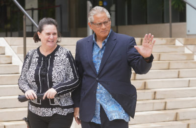 Katherine Kealoha and former HPD Chief Louis Kealoha leave District Court after the Jury had questions, later that afternoon, the jury had a verdict.