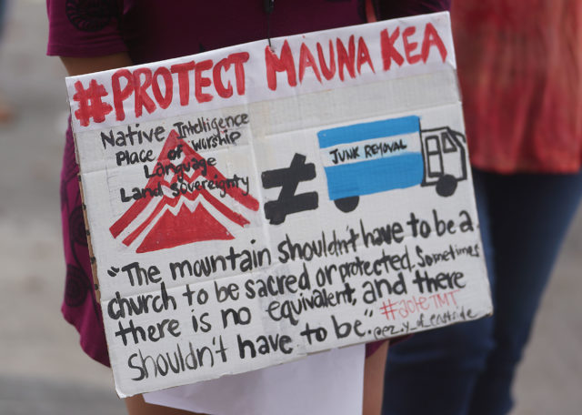 Mauna Kea Demonstration outside the Kalanimoku Building.