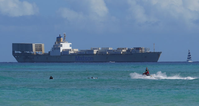 Matson Container ship heads towards Honolulu Harbor.