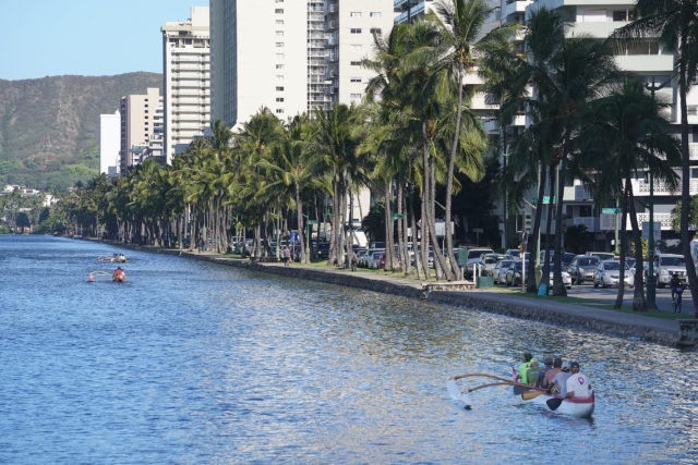 Canoe Paddlers enjoy practice at Ala Wai Canal with King Tides.