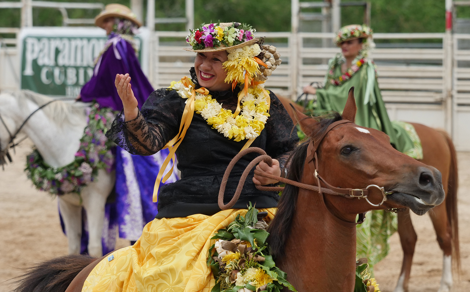 <p>Hawaii pa'u riders grace the arena during the opening ceremony. The pa'u riding tradition began in the early 19th century when horses were introduced to the islands.</p>