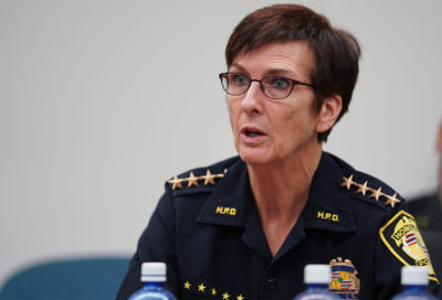 HPD Police Chief Susan Ballard responds to Commission Chair Sheehan.