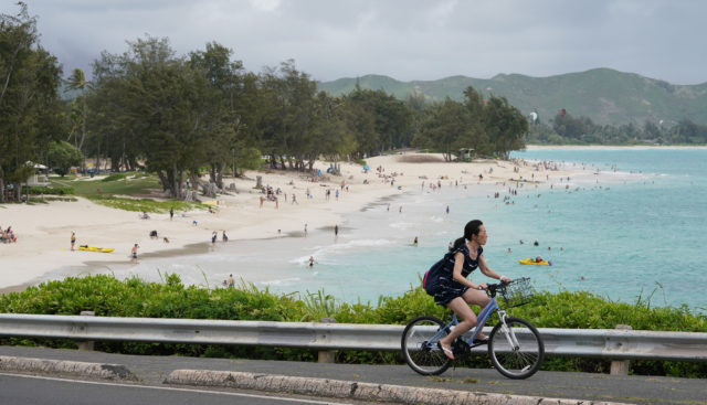 Kailua Beach with cyclist headed towards Lanikai.